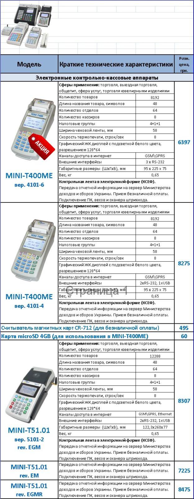 Кассовые аппараты Мини-Т400 Мини-Т51