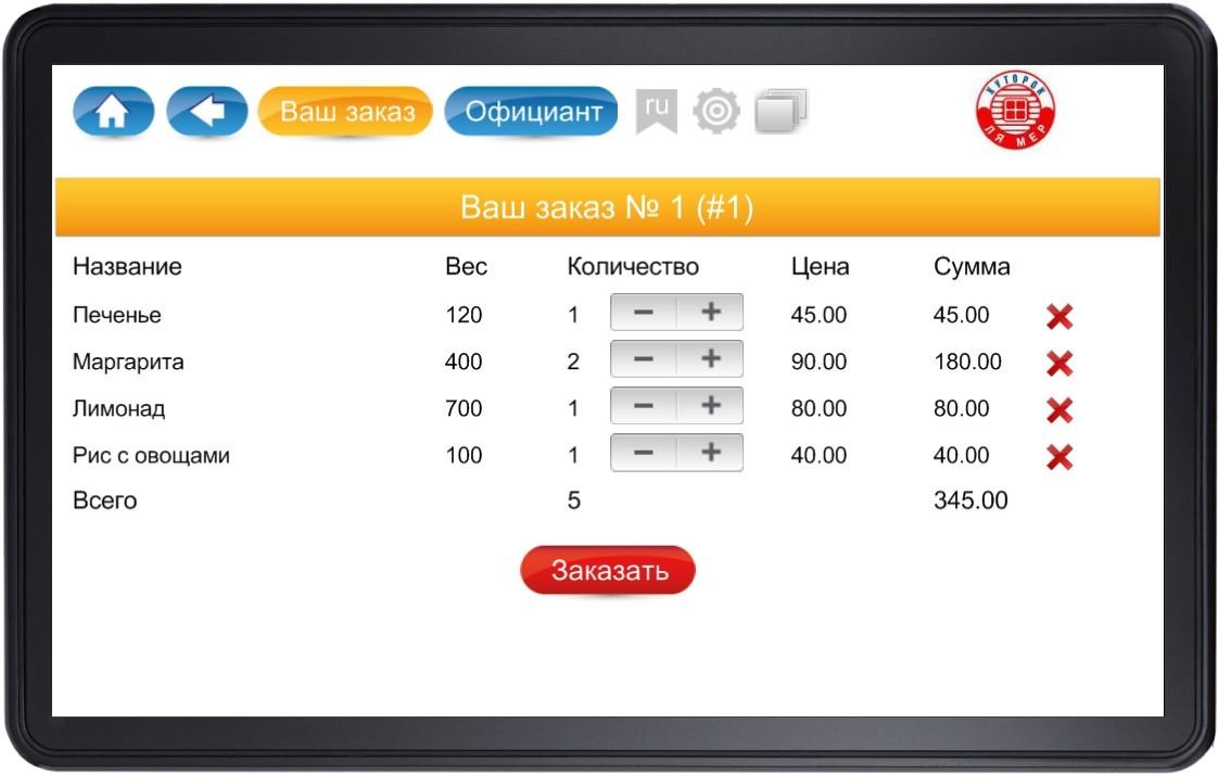 Электронное меню на планшете3-программа для ресторана